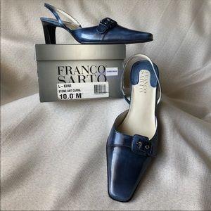NIBWT Franco Sarto Blue Leather Slingback Heels